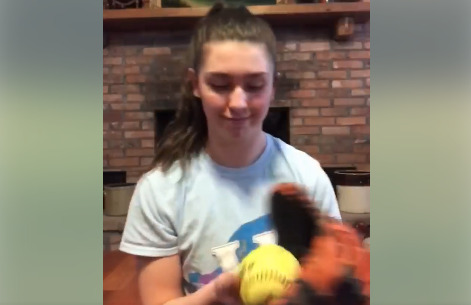 Waterloo HS softball team gets creative with #QuarantineCatchChallenge (video)