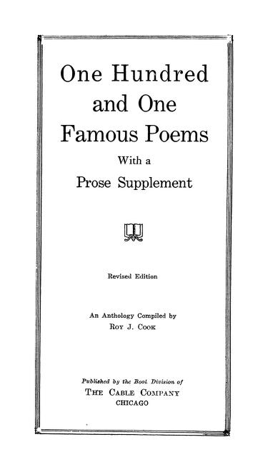 One Hundred And One Famous Poems With A Prose Supplement In Pdf